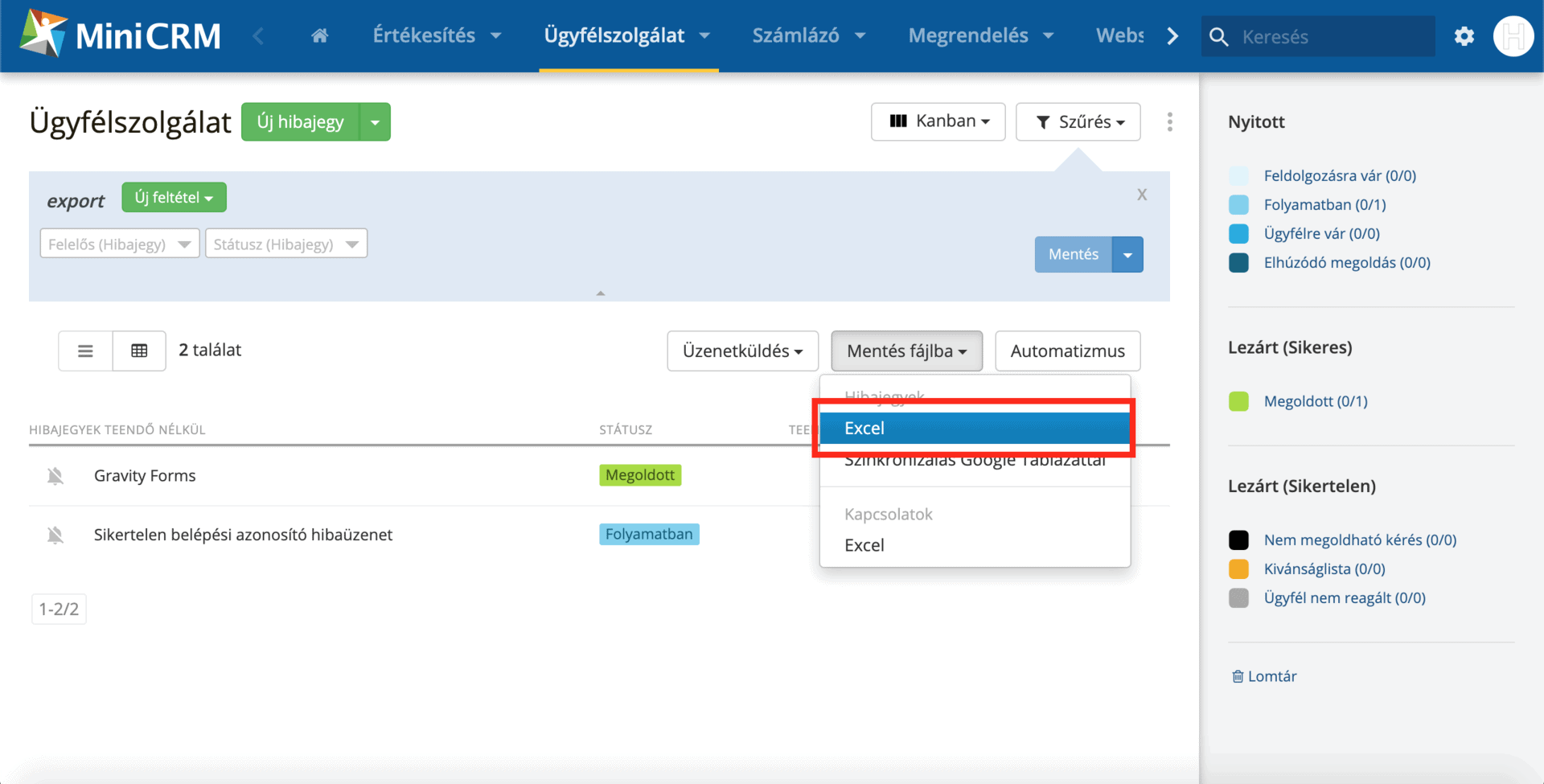 adatlapi export