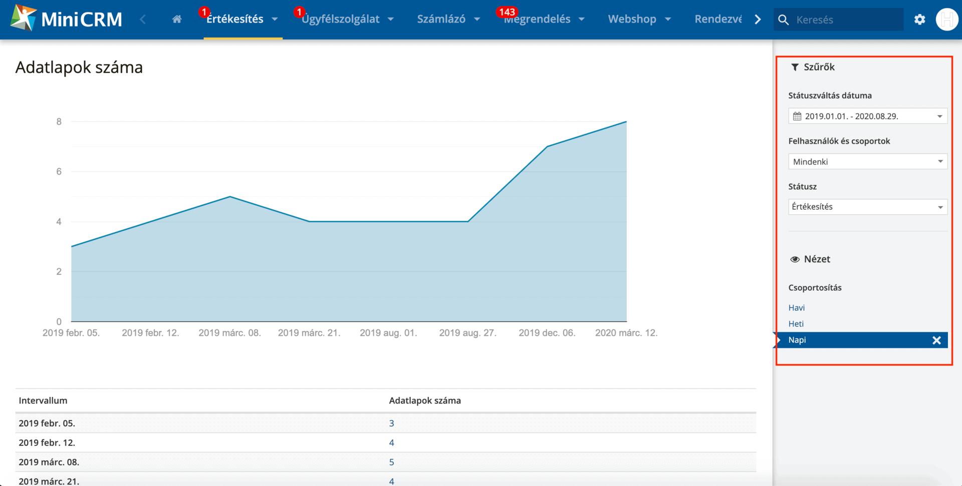 adatlapok száma